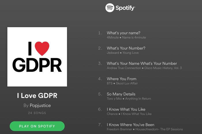 I Love GDPR playlist in Spotify