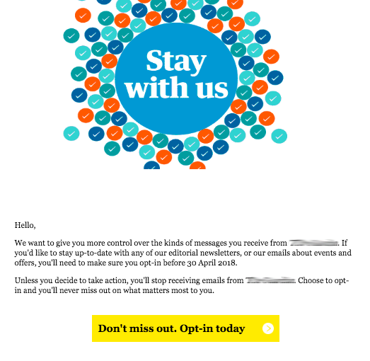 Opt in email prompts pre-GDPR