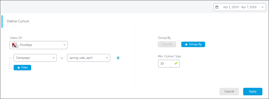 Setting up Cohort dimensions and filters in AppsFlyer dashboard