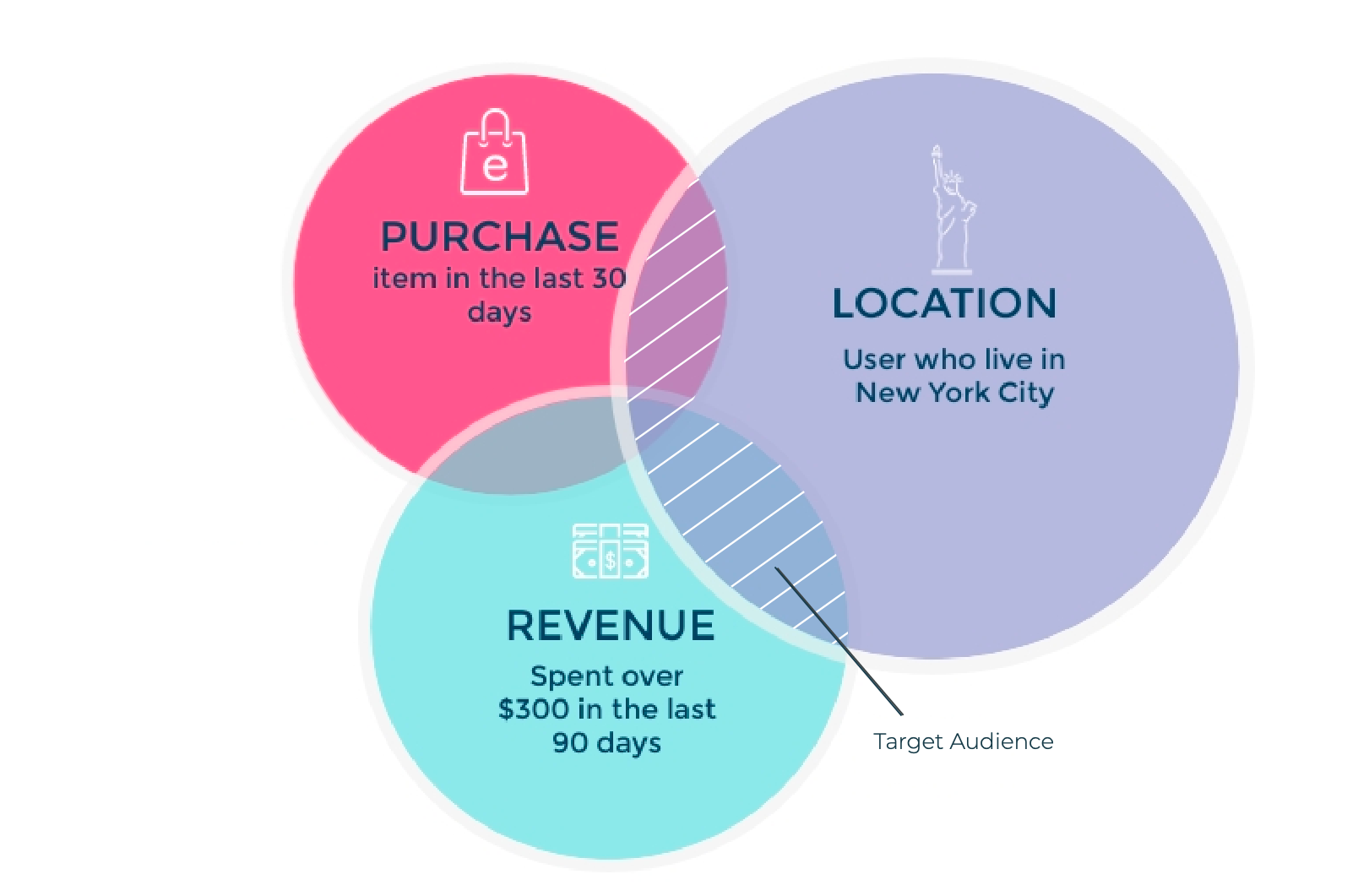 eCommerce audience segmentation example; location, revenue, and purchase