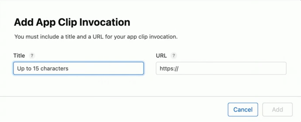 Adding an app clip invocation