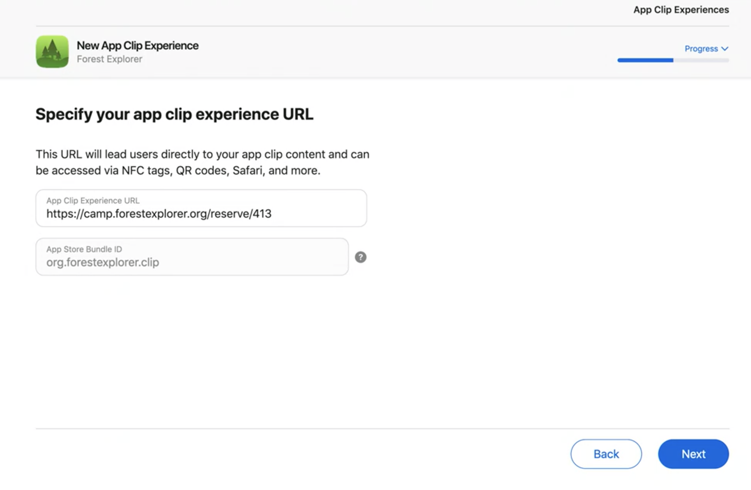 App Clip Experience URL specification