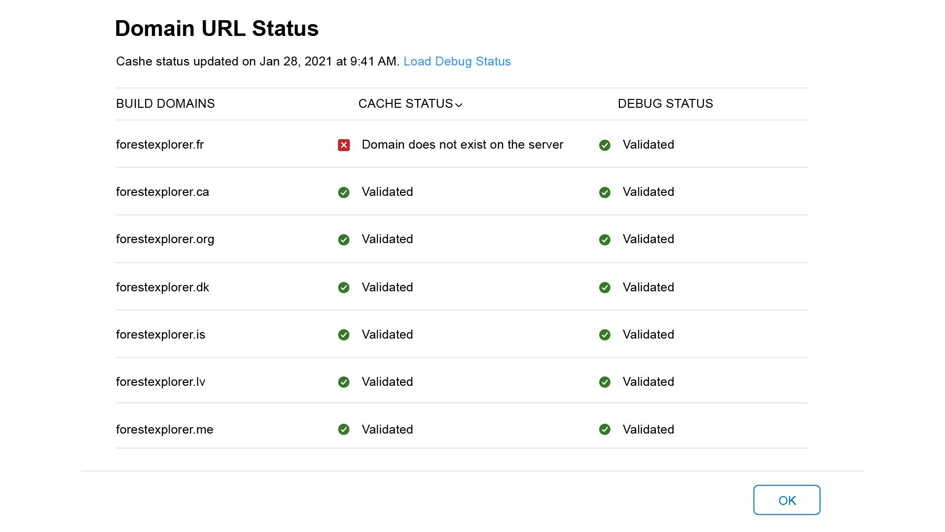 Apple App Clips Domain Cache Status