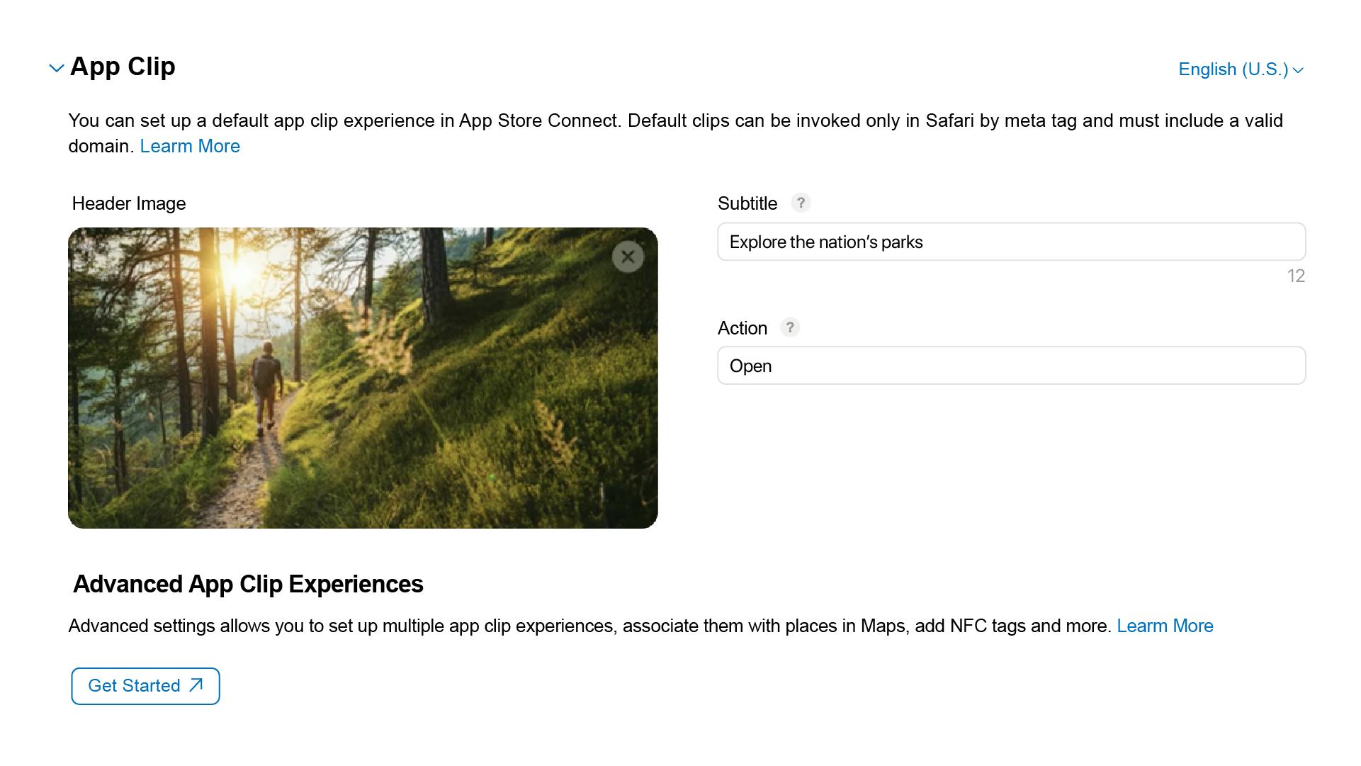 デフォルトの App Clip 構成メタデータ