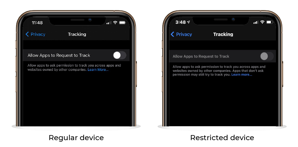 Allow apps to request to track grayed out