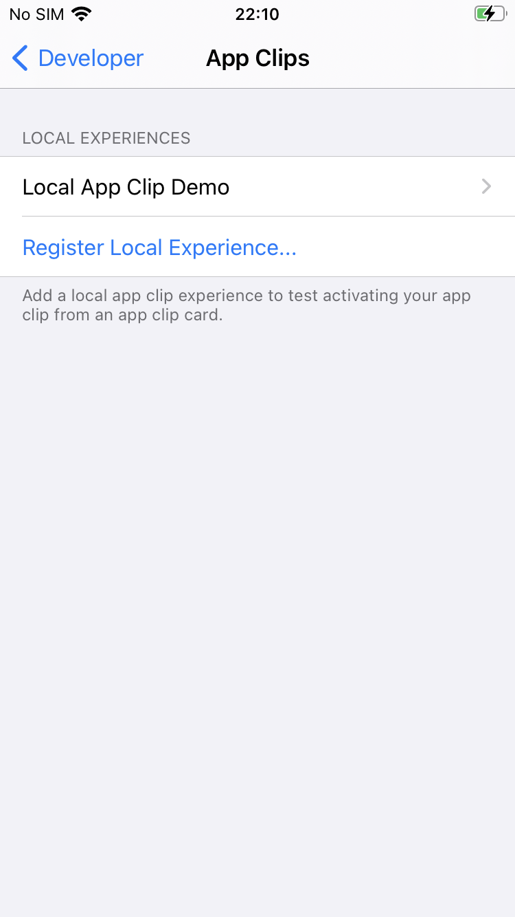 app clip local experience demo