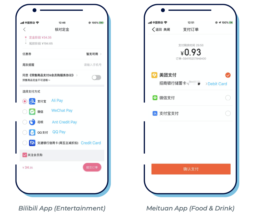 examples of payment pages inside local apps in China
