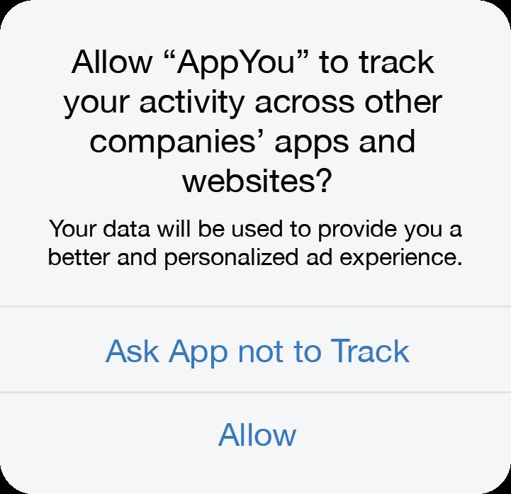 Apple iOS 14 ATT new message