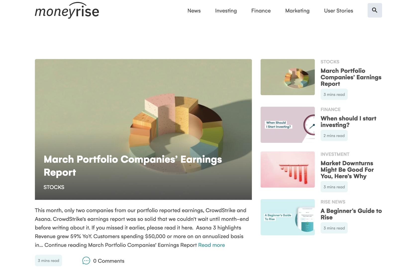 Company portfolio report moneywise screenshot