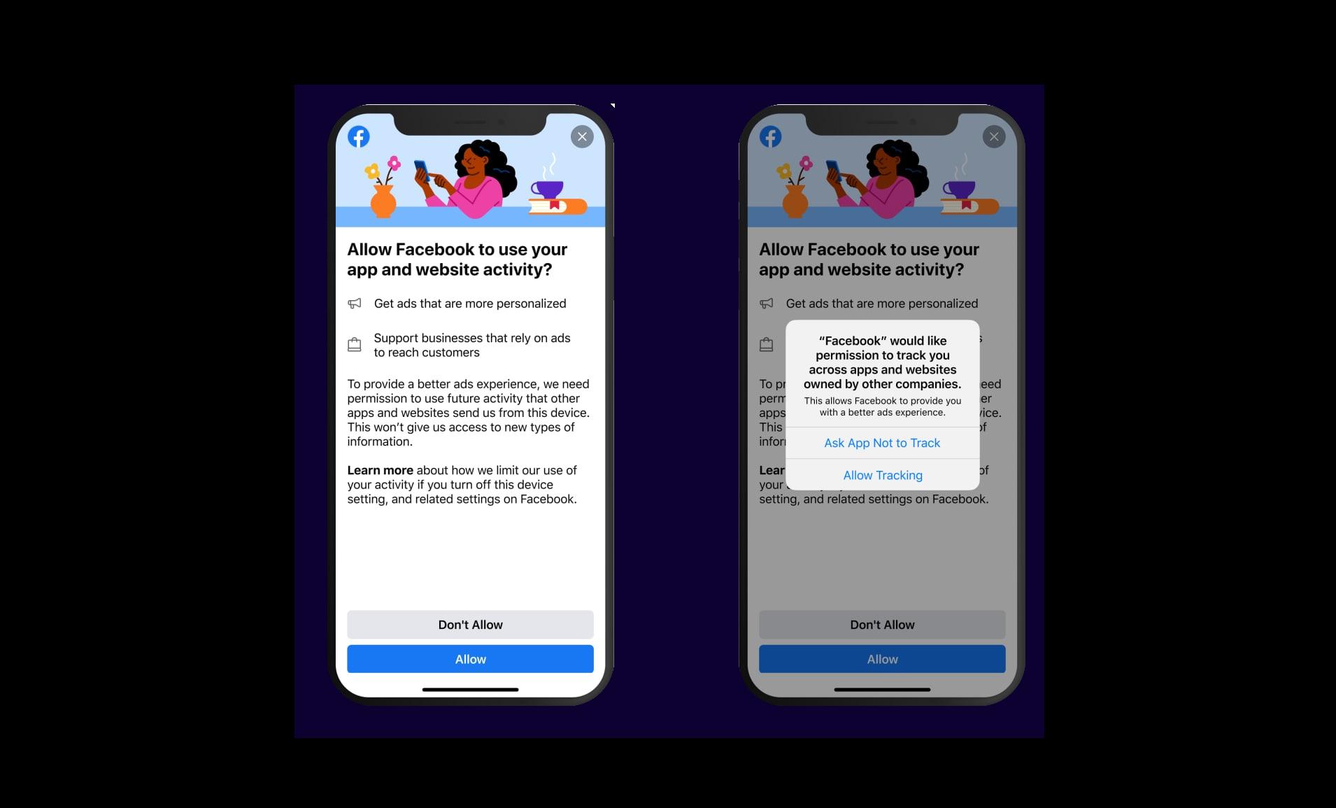 Mensaje de Facebook con ATT en iOS 14
